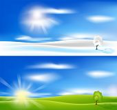 EPS 10 vector background. Summer and winter landscape with  blue sky, tree and sun.