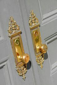 picture of door-handle  - beautiful brass entry door handles - JPG