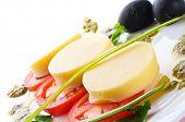 Tomatoes with mozzarella. Isolation on the white