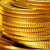 Gold Coins Close Up