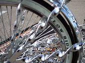 Chrome Tire Rims On A Low Rider Bicycle Tire