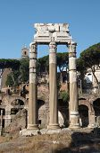 The Ruins Of Roman Forum. Temple Of Castor And Pollux
