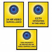 Video Surveillance Camera Sign Blue Eye