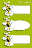 Set of labels with bee and daisy, kids illustration