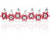 A team of people walking on gears featuring letters from the word Forward, marching to the future to