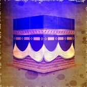 stock photo of kaba  - Beautiful View of Qaba or Kaaba Sharif on grungy background - JPG