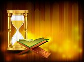 stock photo of quran sharif  - Open holy book Quran Sharif or Kuran Sharif with hour glass - JPG