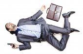 Dead businessman on the floor