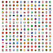 alphabetically sorted circle flags of the world with official RGB coloring and detailed emblems