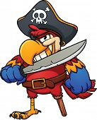 Evil pirate parrot. Vector illustration with simple gradients. All in a single layer.