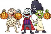 Cartoon Halloween kids trick or treating. Vector illustration with simple gradients. Each in a separ