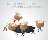 Businessmen throwing away boxes with papers and files