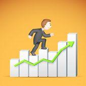 illustration of 3d business man in vector climbing bar graph