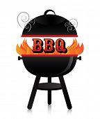 Smoky fiery BBQ grill.