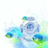 Hand drawn vintage diving helmet and tropical fishes - vector illustration