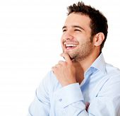 Happy casual business man laughing - isolated over a white backgorund