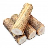 Cut logs fire wood from Common Oak tree (Quercus robur). Renewable resource of a energy. Environment