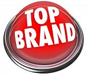 A red button or flashing light with the words Top Brand to indicate something is the best company or
