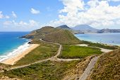 panoramic view of st kitts with nevis in background