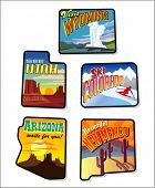 Colorful vector travel illustrations- Western United States