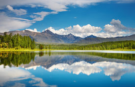 stock photo of landscapes beautiful  - Mountain landscape beautiful lake in Altai mountains - JPG