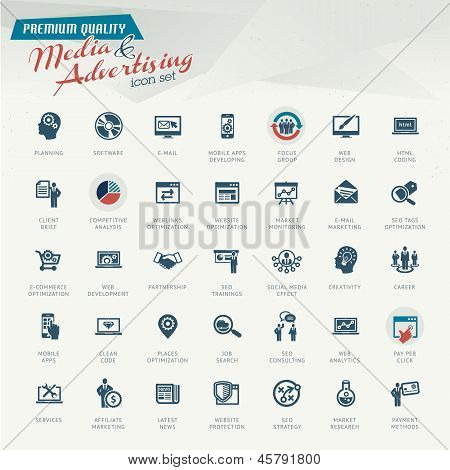 Media and advertising icon set poster