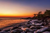 image of sunny beach  - Tropical beach at beautiful sunset - JPG