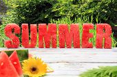 stock photo of greenery  - Summer spelled in letters cut out of watermelon - JPG