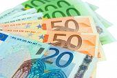 Euro banknotes close-up