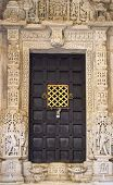 Close-up image of ancient India doors