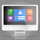 Modern lcd monitor with tile interface