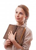 woman holding old book, isolated on white