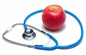 Red apple with stethoscope isolated