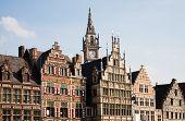 Facade of houses along the Graslei in Ghent, Belgium