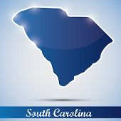 shiny icon in form of South Carolina state, USA