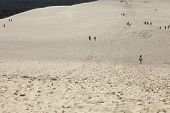 PYLA SUR MER, FRANCE - AUGUST 8: People visiting the Famous dune of Pyla, the highest sand dune in E
