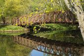 stock photo of winona  - A footbridge over a reflective creek during spring - JPG