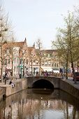 Canal And Market Place Over Bridge In Oudewater