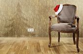 stock photo of plinth  - Old Antiques Armchair With Santa - JPG