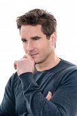 one caucasian man mature handsome thinking pensive portrait studio  white background