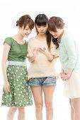 Beautiful young women using a cellular