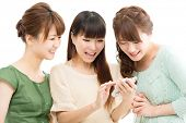 Beautiful young women using a cellular