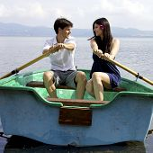 Beautiful Wife And Husband In Love On Boat In Vacation