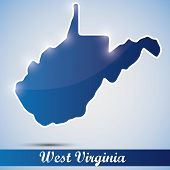 shiny icon in form of West Virginia state, USA