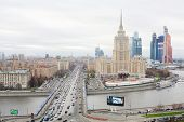 MOSCOW - NOVEMBER 14: Hotel Ukraine and Moscow City business complex, on November 14, 2012 in Moscow
