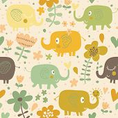 Funny cartoon elephants in flowers. Seamless pattern can be used for wallpapers, pattern fills, web