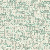 European town - concept background. Seamless pattern can be used for wallpapers, pattern fills, web