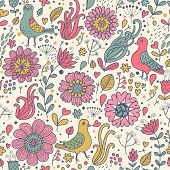 picture of pigeon  - Pigeons in flowers - JPG