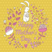 Cartoon happy mothers day card in vector. Cute white rabbit in flowers. Bright floral background in