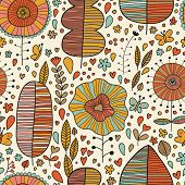 Summer floral seamless pattern made of leafs, flowers and butterflies. Seamless pattern can be used